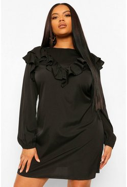 Black Plus Ruffle Detail Shift Dress