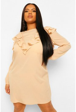 Stone beige Plus Ruffle Detail Shift Dress