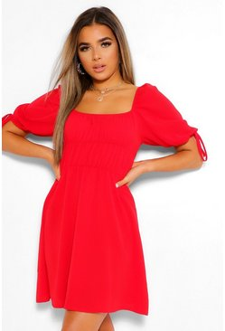 Petite Ballon Sleeve Smock Dress, Red