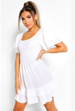 Petite Smocked Angel Sleeve Skater Dress, White