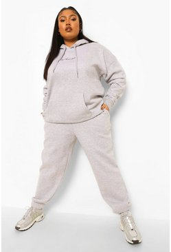 Grey marl grey Plus Woman Hoody Tracksuit