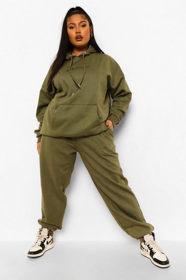 Khaki Plus Woman Hoody Tracksuit