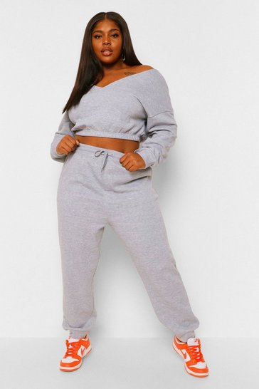 Grey marl grey Plus V Neck Sweat Tracksuit