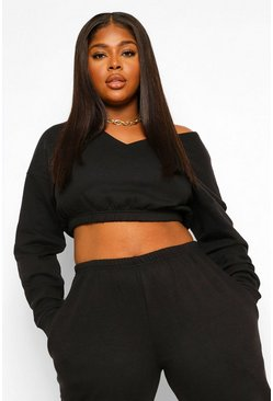 Black Plus V Neck Oversized Sweat