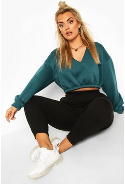 Teal Plus V Neck Oversized Sweat