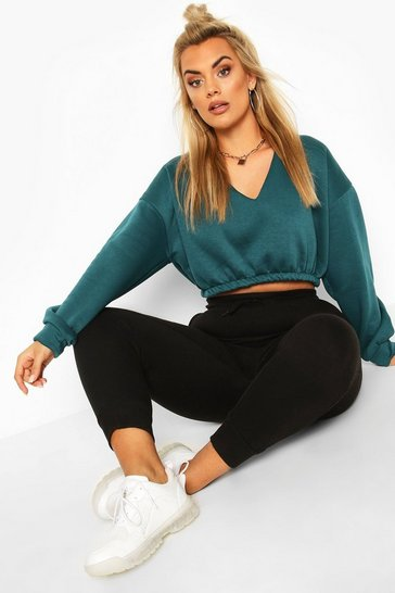 Teal green Green Plus V Neck Oversized Sweat