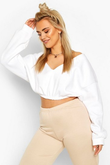 White Plus V Neck Oversized Sweat