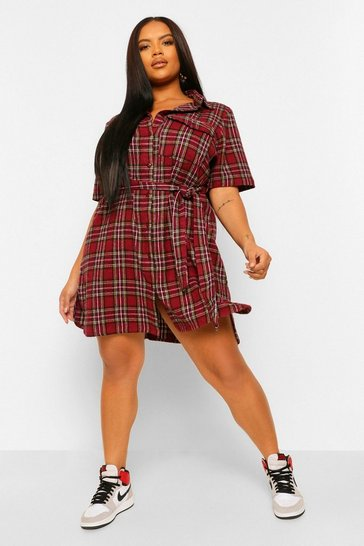 Red Plus Check Self Belted Shirt Dress