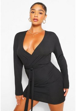 Black Plus Rib Wrap Self Belted Bodycon Dress