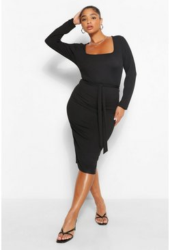 Black Plus Rib Square Neck Long Sleeve Midi Dress