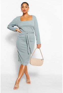 Peach orange Plus Rib Square Neck Long Sleeve Midi Dress