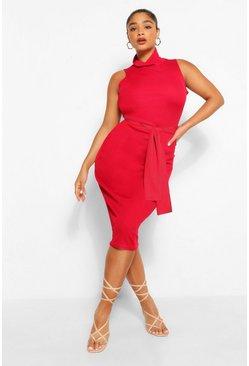 Berry Plus Rib High Neck Tie Waist Midi Dress