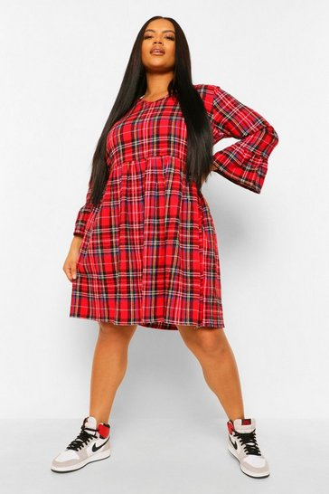 Rust orange Plus Check Ruffle Smock Dress