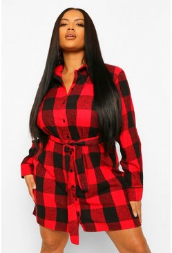 Red Plus Check Self Belted Oversized Shirt Dress