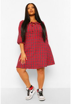 Red Plus Check Puff Sleeve Smock Dress