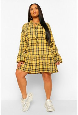 Mustard yellow Plus Check Drop Hem Smock Dress
