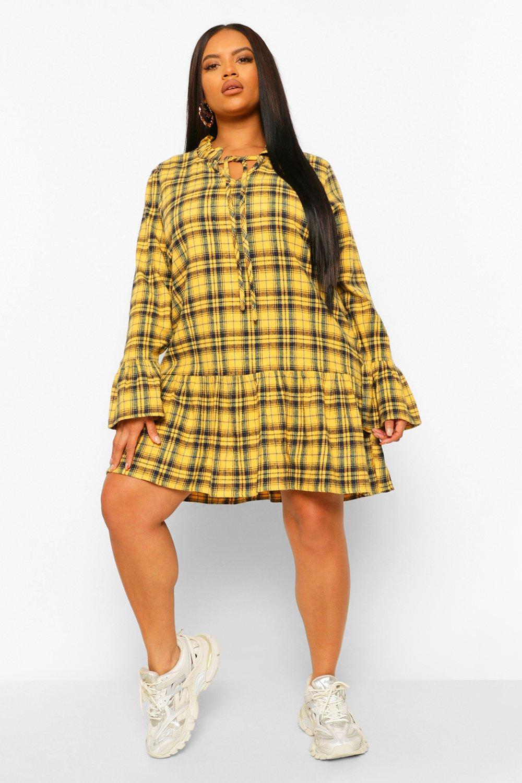 Plus Check Drop Hem Smock Dress 15