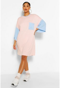 Blue Plus Colour Block T-Shirt Dress