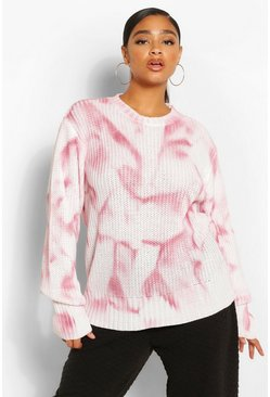 Berry red Plus Tie Dye Oversized Sweater