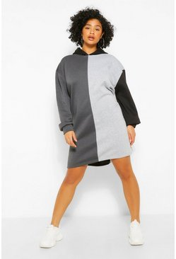 Black Plus Colour Block Hooded Sweat Dress