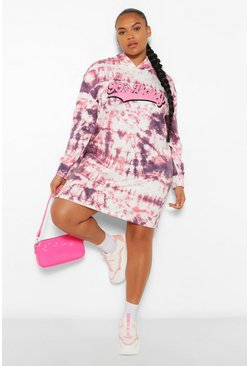 Pink Plus Boyfriend Slogan Tie Dye Hoodie Sweat Dress