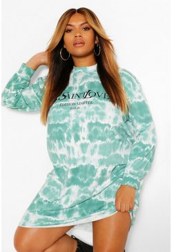 Plus Slogan Tie Dye Sweat Dress