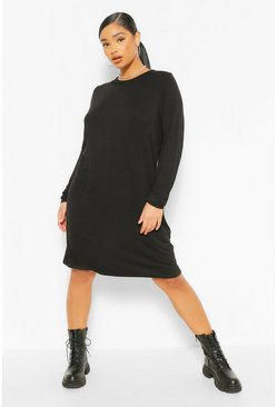 Black Plus Jersey Long Sleeve T-Shirt Dress