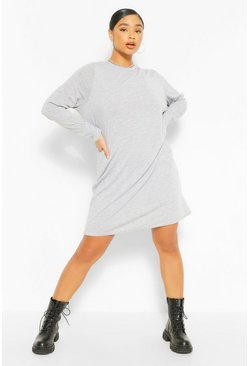 Grey Plus Jersey Long Sleeve T-Shirt Dress