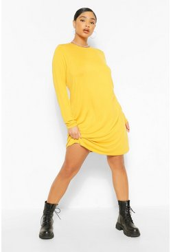 Mustard yellow Plus Jersey Long Sleeve T-Shirt Dress