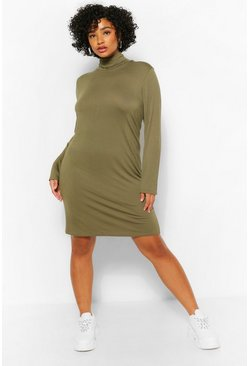 Khaki Plus Roll Neck Jersey Shift Dress
