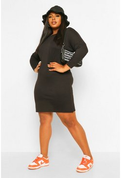 Black Plus Oversized Slash Neck Long Sleeve T-Shirt Dress