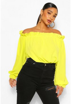 Chartreuse yellow Plus Off The Shoulder Woven Bodysuit
