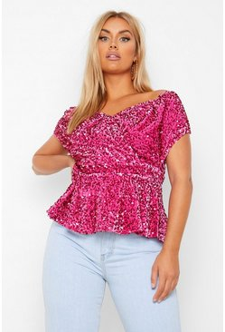 Fuchsia pink Plus Velvet Sequin Off The Shoulder Belted Peplum Top