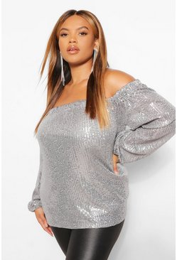 Pewter grey Plus Sequin Off Shoulder Long Sleeve Top