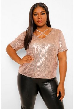 Bronze metallic Plus T-Shirt Met Schuine Band En Pailletten
