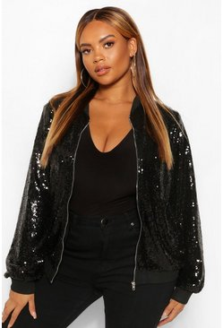 Black Plus Sequin Zip Through Bomber Jacket