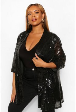 Black Plus Sequin 3/4 Sleeve Duster