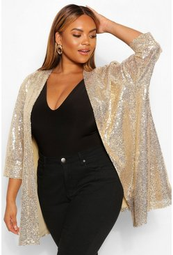 Gold metallic Plus Sequin 3/4 Sleeve Duster