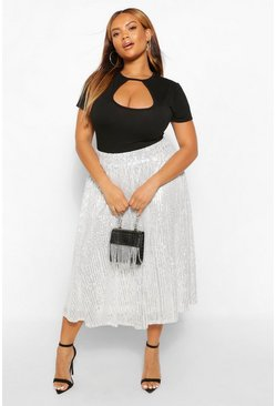 Silver Plus Sequin Circle Midi Skater Skirt