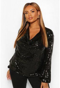 Black Plus Sequin Cowl Neck Long Sleeve Top