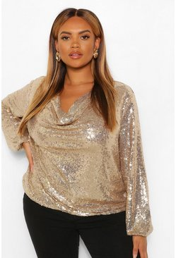 Gold metallic Plus Sequin Cowl Neck Long Sleeve Top