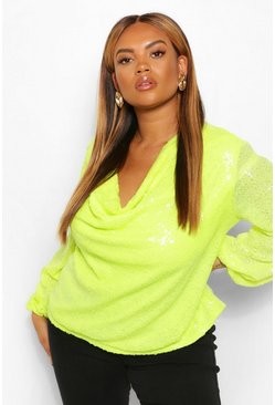 Lime green Plus Sequin Cowl Neck Long Sleeve Top
