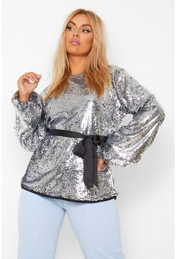 Silver Plus Sequin Slash Neck Belted Balloon Sleeve Top