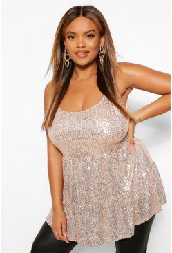 Gold metallic Plus Sequin Tiered Cami Top