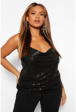 Black Plus Sequin Cowl Strappy Camisole