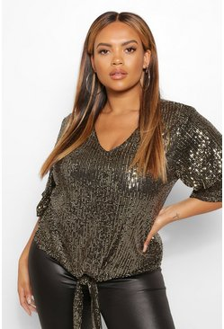 Gold metallic Plus Sequin 3/4 Sleeve Tie Front Top