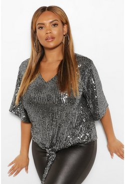Silver Plus Sequin 3/4 Sleeve Tie Front Top
