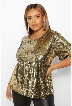 Gold metallic Plus Gesmokte Top Met Pailletten En Kapmouwen