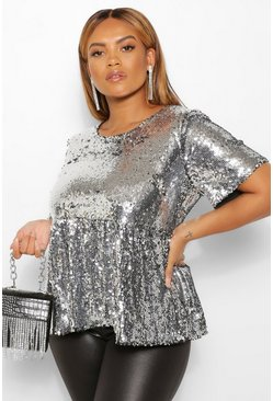 Silver Plus Sequin Cap Sleeve Smock Top