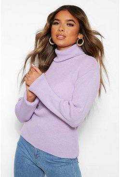 Lilac purple Petite Rib Knit Roll Neck Jumper